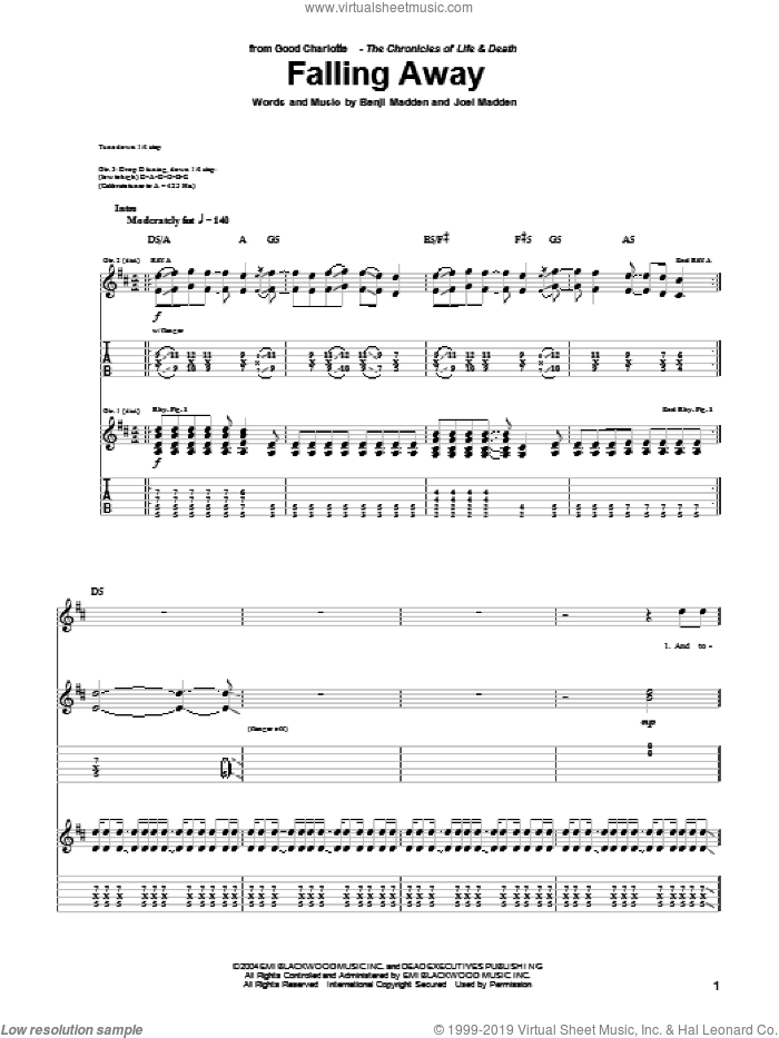 Falling Away sheet music for guitar (tablature) by Joel Madden