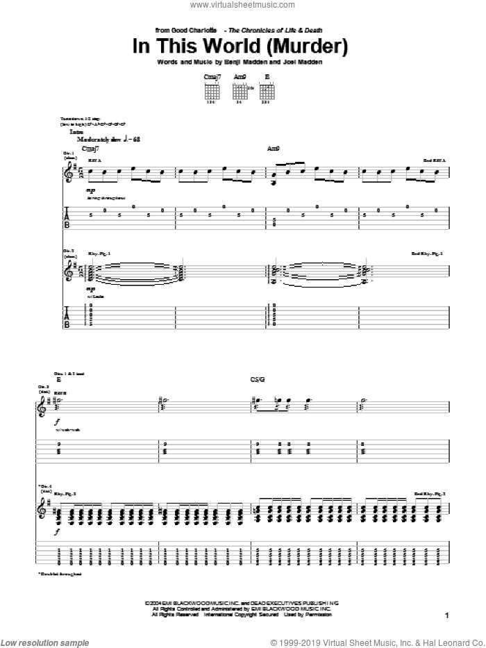 In This World (Murder) sheet music for guitar (tablature) by Good Charlotte, Benji Madden and Joel Madden, intermediate