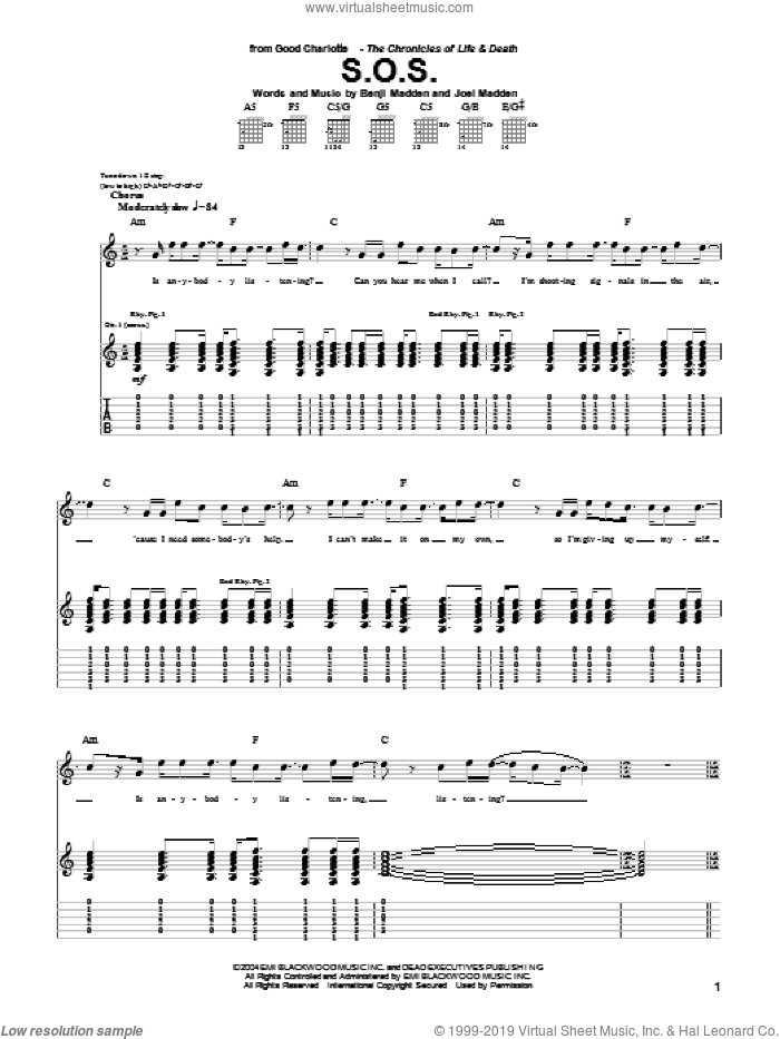 S.O.S. sheet music for guitar (tablature) by Good Charlotte. Score Image Preview.