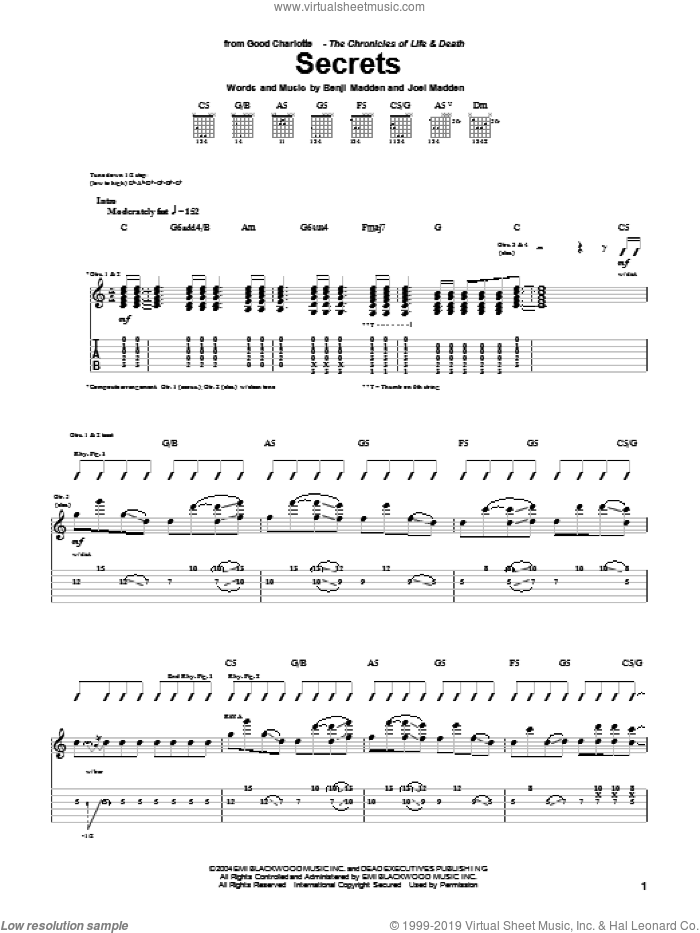 Secrets sheet music for guitar (tablature) by Joel Madden and Good Charlotte. Score Image Preview.