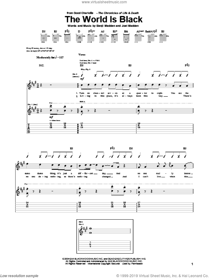 The World Is Black sheet music for guitar (tablature) by Good Charlotte, Benji Madden and Joel Madden, intermediate