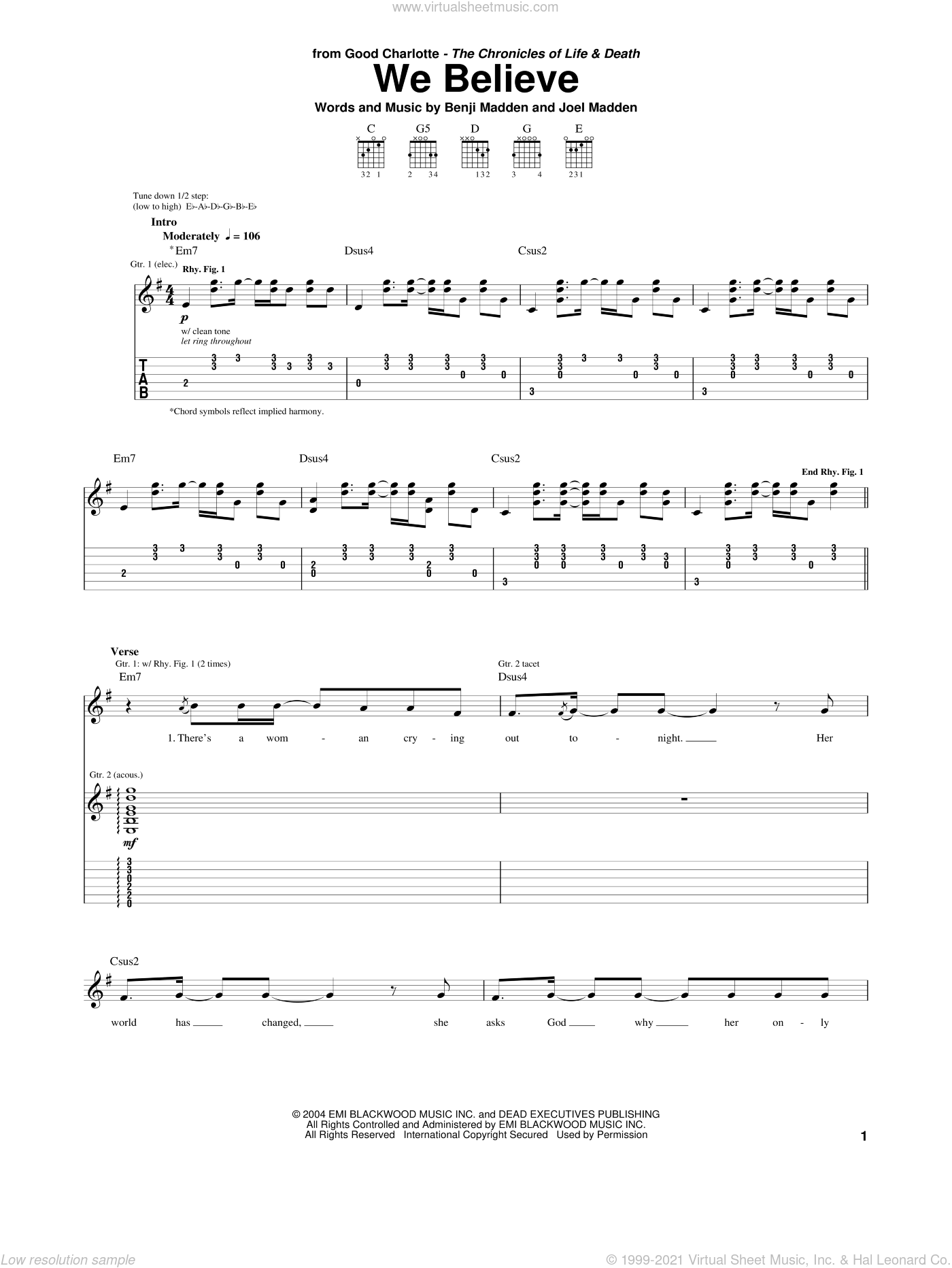 We Believe sheet music for guitar (tablature) by Joel Madden and Benji Madden. Score Image Preview.