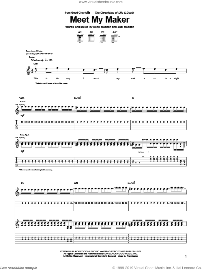 Meet My Maker sheet music for guitar (tablature) by Good Charlotte, intermediate guitar (tablature). Score Image Preview.