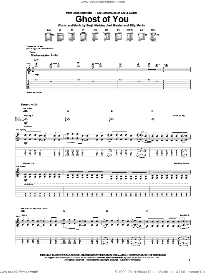 Ghost Of You sheet music for guitar (tablature) by Good Charlotte, intermediate guitar (tablature). Score Image Preview.