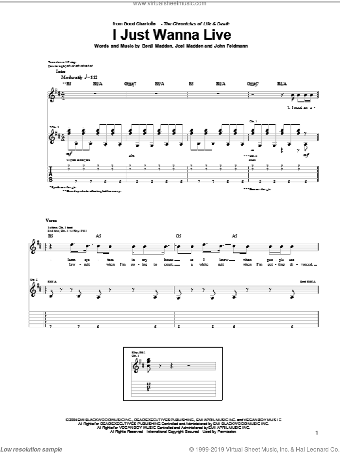 I Just Wanna Live sheet music for guitar (tablature) by John Feldmann