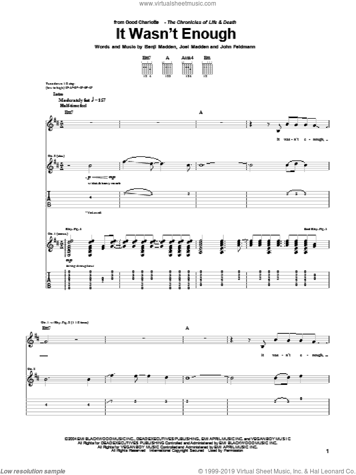 It Wasn't Enough sheet music for guitar (tablature) by Good Charlotte and John Feldmann, intermediate. Score Image Preview.
