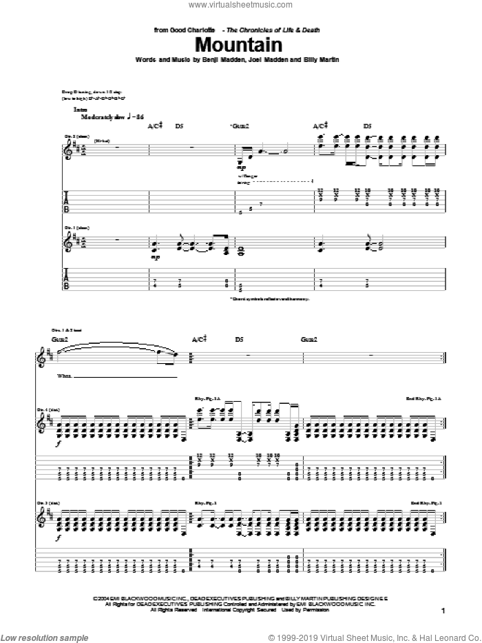 Mountain sheet music for guitar (tablature) by Joel Madden