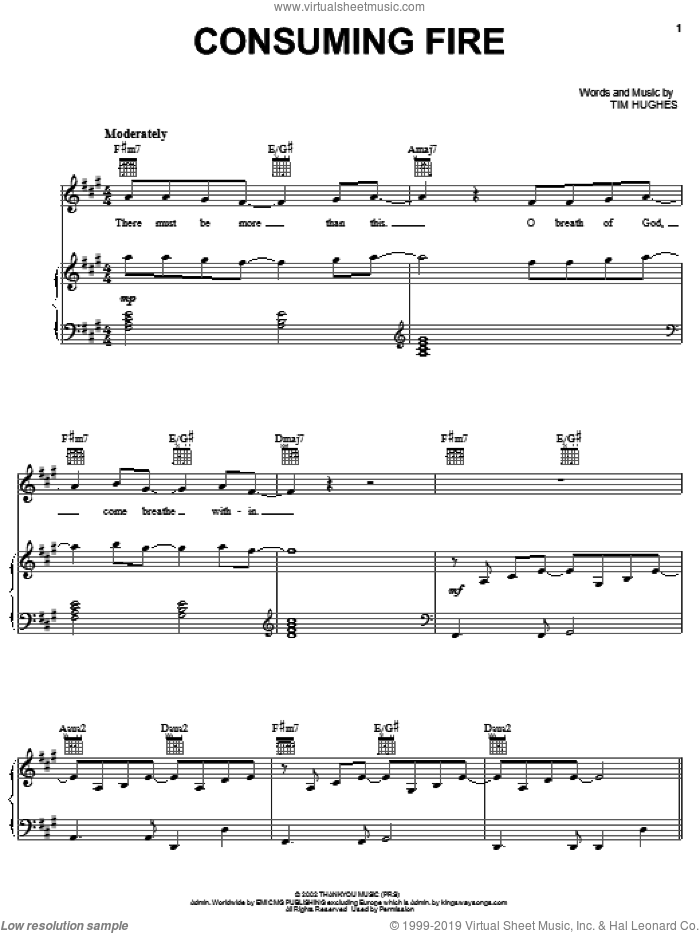 Consuming Fire sheet music for voice, piano or guitar by Tim Hughes, intermediate skill level