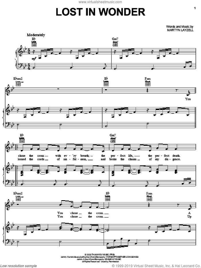 Lost In Wonder sheet music for voice, piano or guitar by Martyn Layzell, intermediate skill level