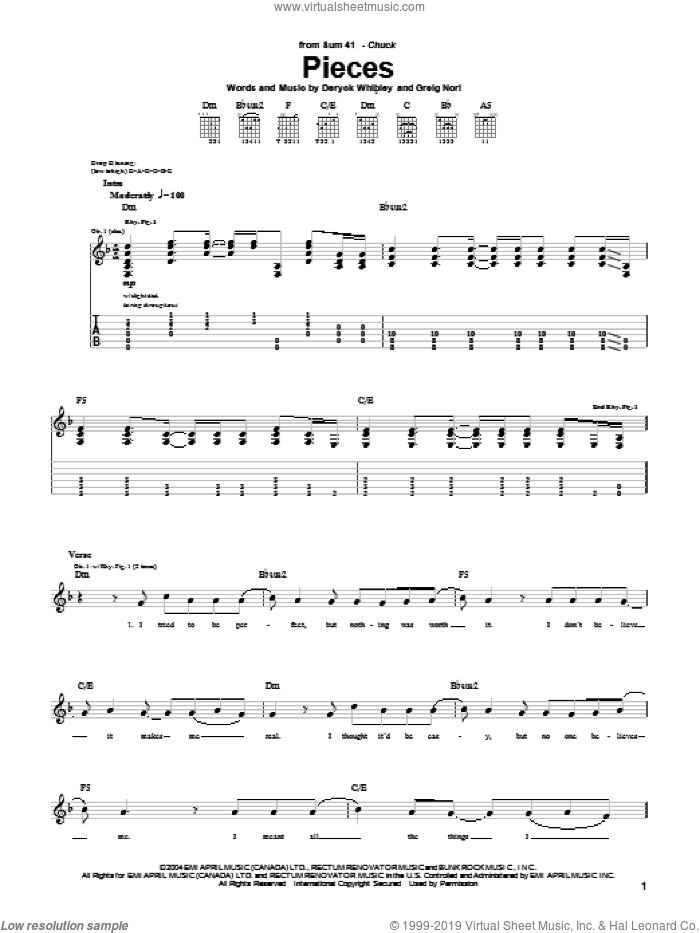Pieces sheet music for guitar (tablature) by Sum 41, Deryck Whibley and Greig Nori, intermediate skill level