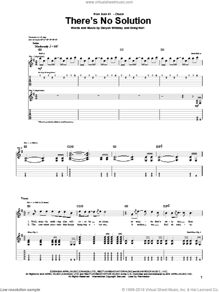 There's No Solution sheet music for guitar (tablature) by Sum 41. Score Image Preview.