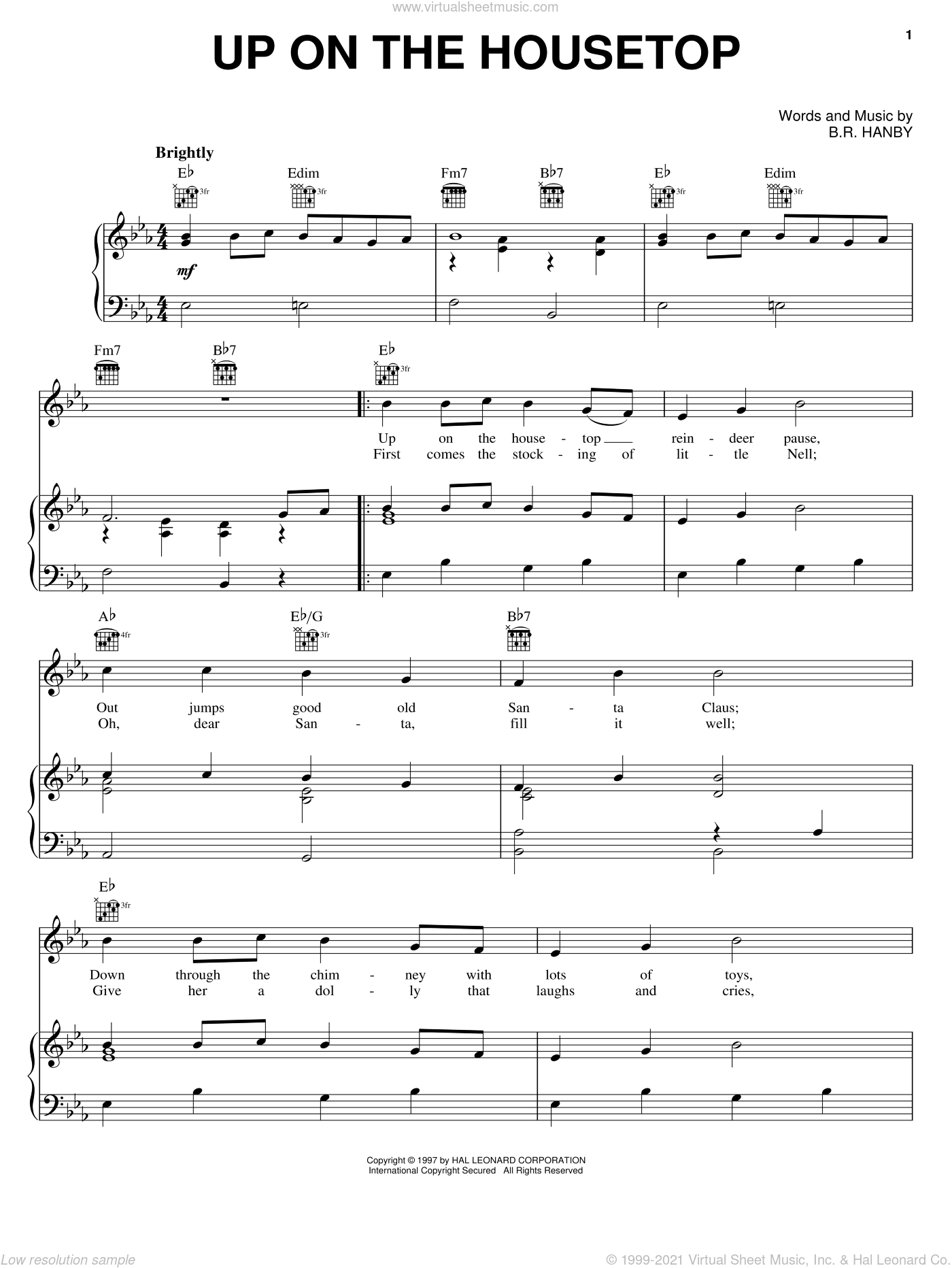 Up On The Housetop sheet music for voice, piano or guitar by Benjamin Hanby, intermediate skill level