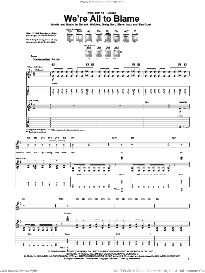 We're All To Blame sheet music for guitar (tablature) by Steve Jocz, Sum 41, Deryck Whibley and Greig Nori