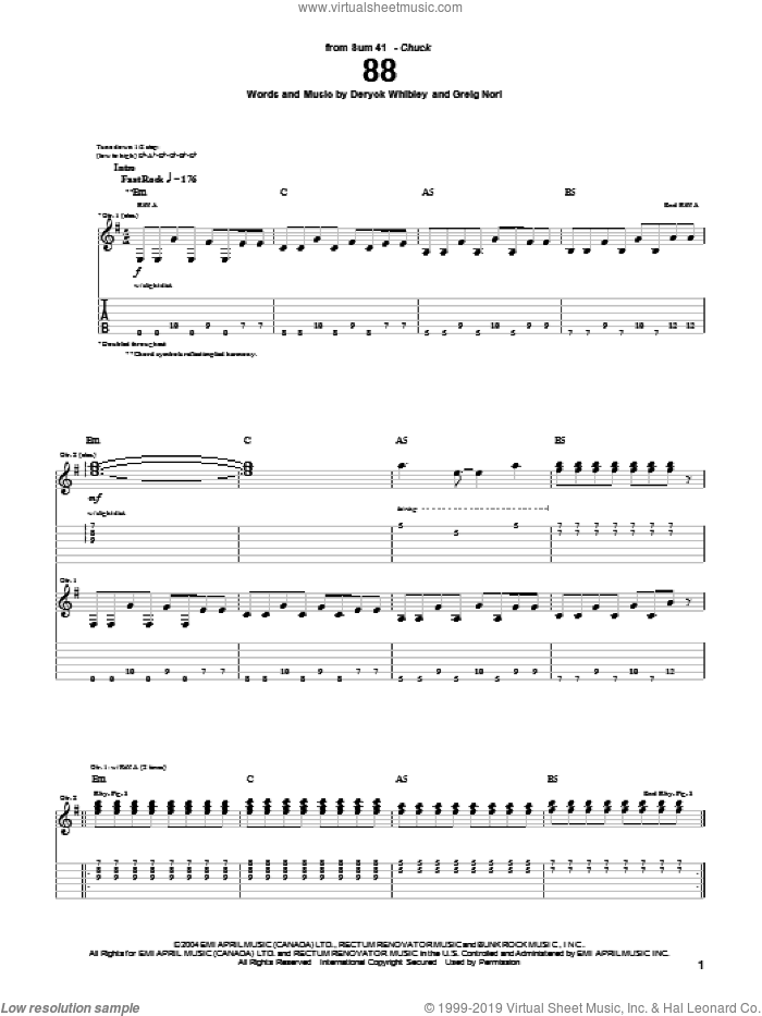 88 sheet music for guitar (tablature) by Sum 41, Deryck Whibley and Greig Nori, intermediate