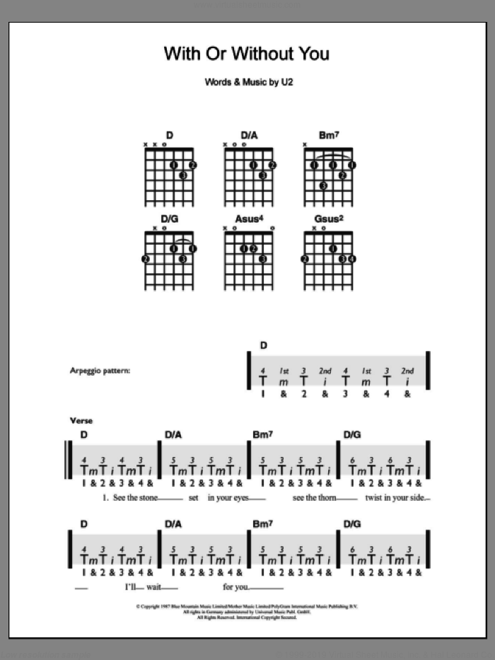 With Or Without You sheet music for guitar solo (chords) by U2. Score Image Preview.