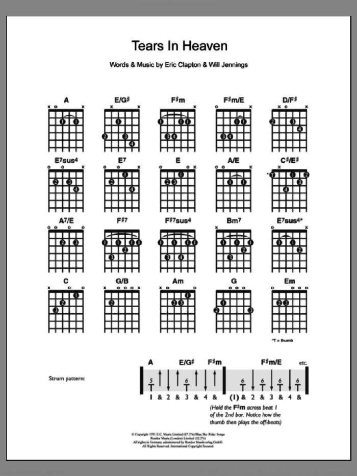 Tears In Heaven sheet music for guitar solo (chords) by Eric Clapton and Will Jennings, easy guitar (chords)