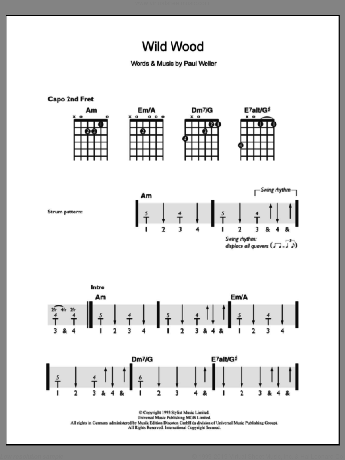 Wild Wood sheet music for guitar solo (chords) by Paul Weller. Score Image Preview.