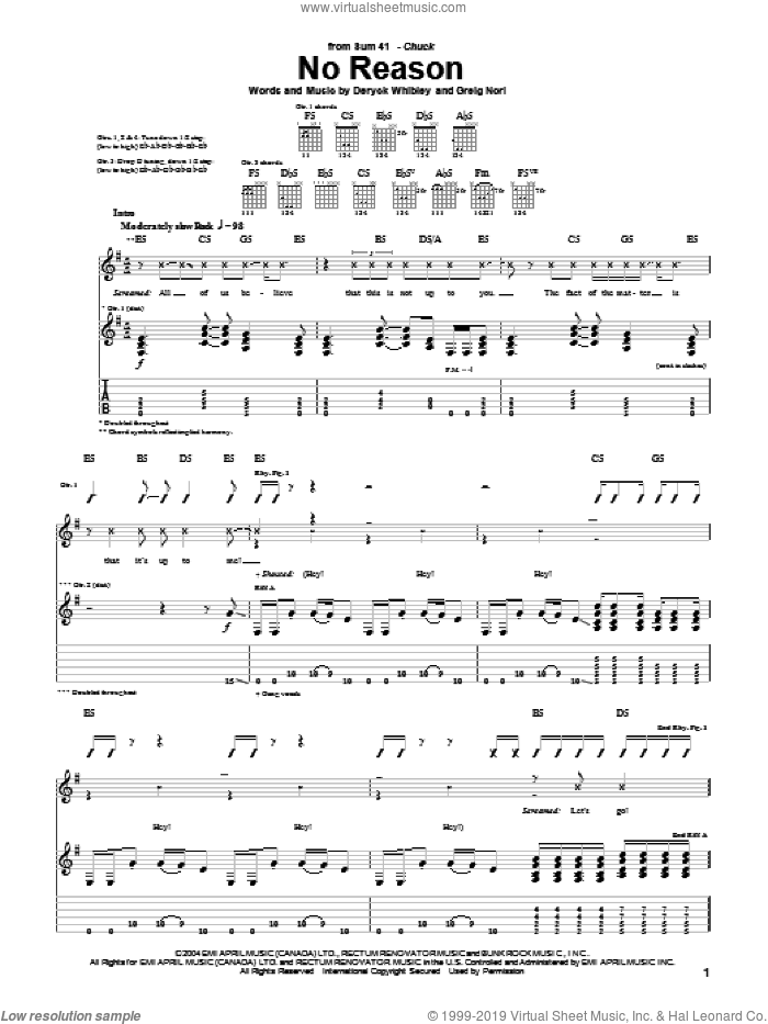 No Reason sheet music for guitar (tablature) by Sum 41, Deryck Whibley and Greig Nori, intermediate skill level