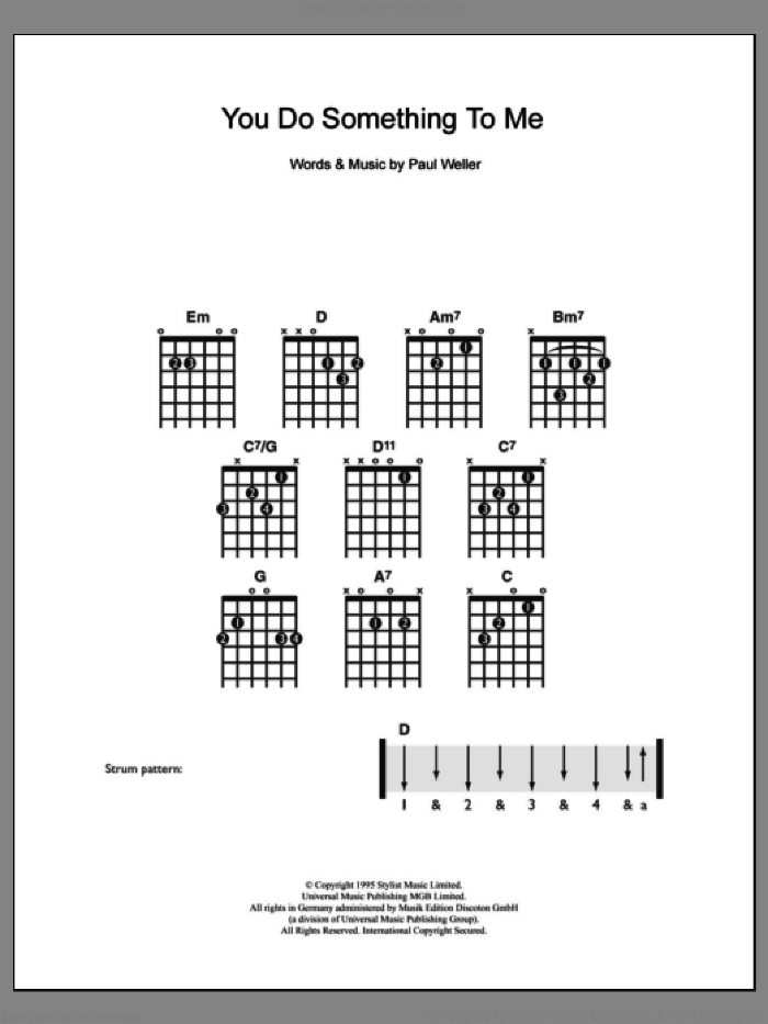 You Do Something To Me sheet music for guitar solo (chords) by Paul Weller, easy guitar (chords). Score Image Preview.