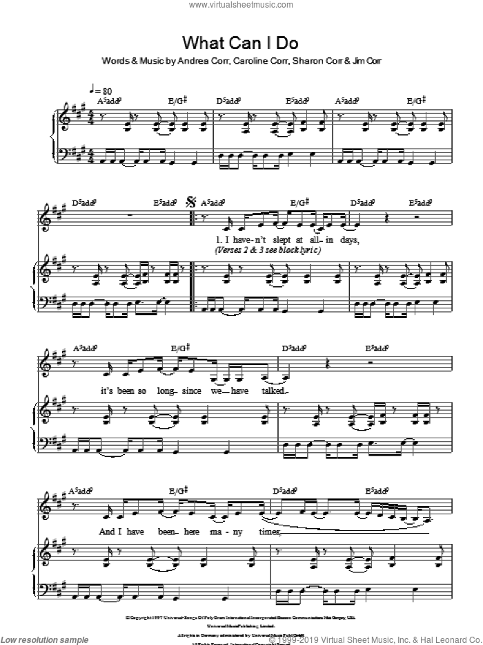 What Can I Do sheet music for voice and piano by The Corrs, Andrea Corr, Caroline Corr, Jim Corr and Sharon Corr, intermediate skill level
