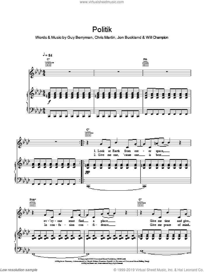 Politik sheet music for voice, piano or guitar by Coldplay. Score Image Preview.