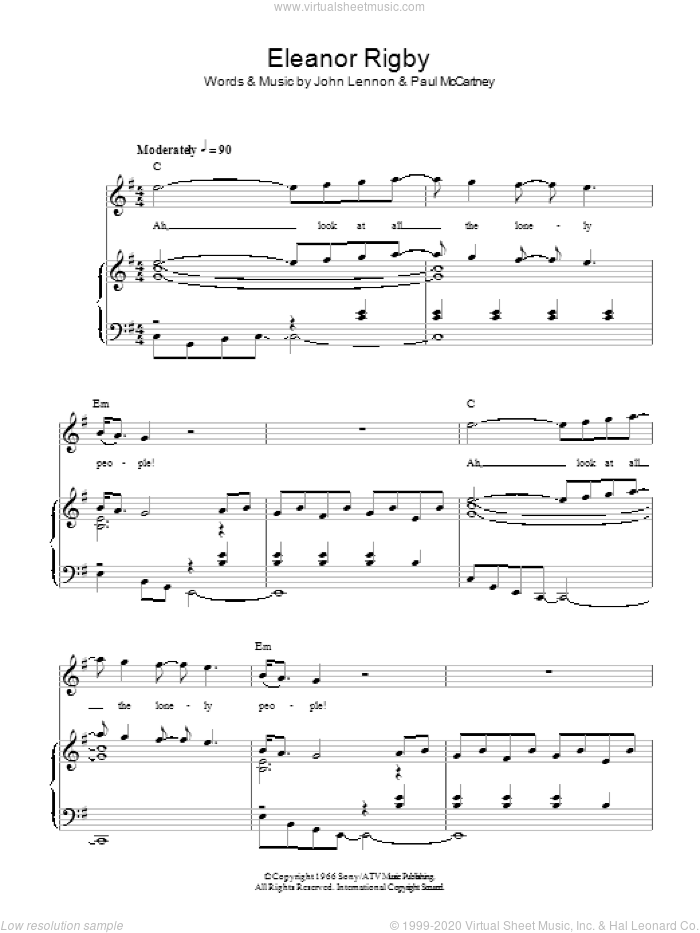 Eleanor Rigby sheet music for voice, piano or guitar by The Beatles, John Lennon and Paul McCartney. Score Image Preview.