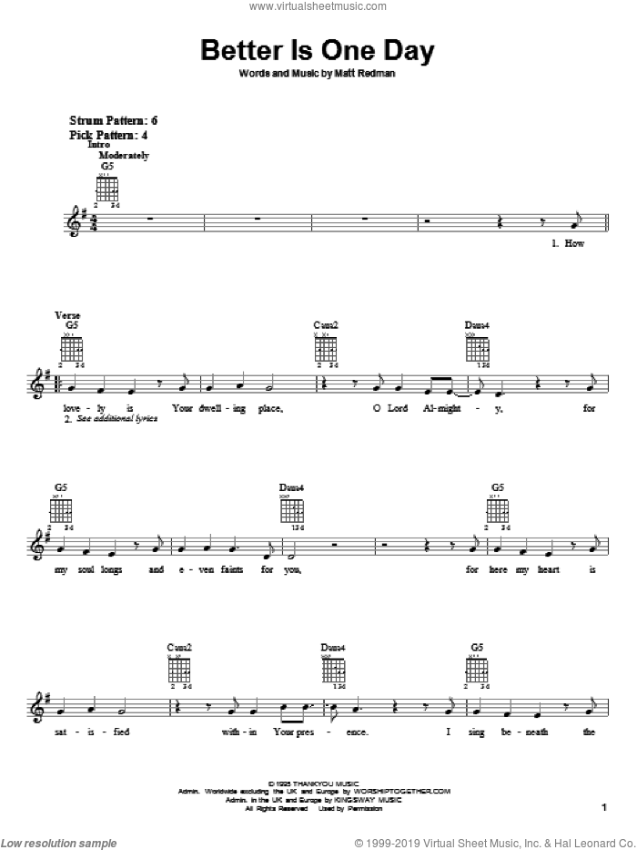 Better Is One Day sheet music for guitar solo (chords) by Matt Redman, easy guitar (chords)