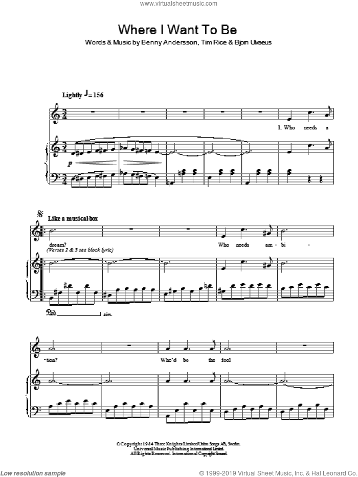 Where I Want To Be sheet music for voice and piano by Tim Rice, Chess (Musical), Benny Andersson and Bjorn Ulvaeus, intermediate