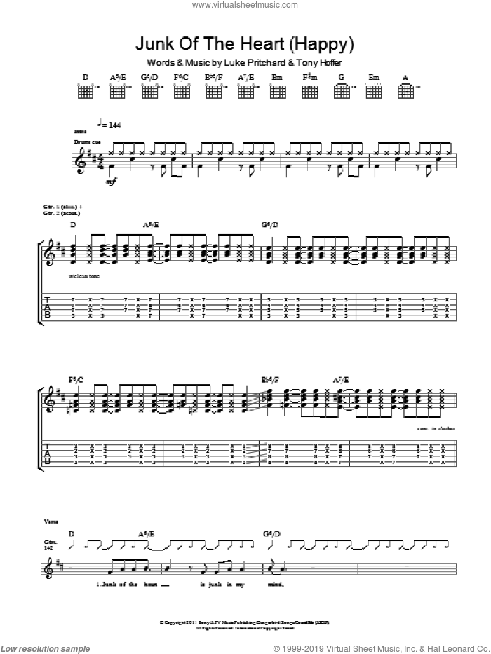 Junk Of The Heart (Happy) sheet music for guitar (tablature) by The Kooks, Luke Pritchard and Tony Hoffer, intermediate skill level