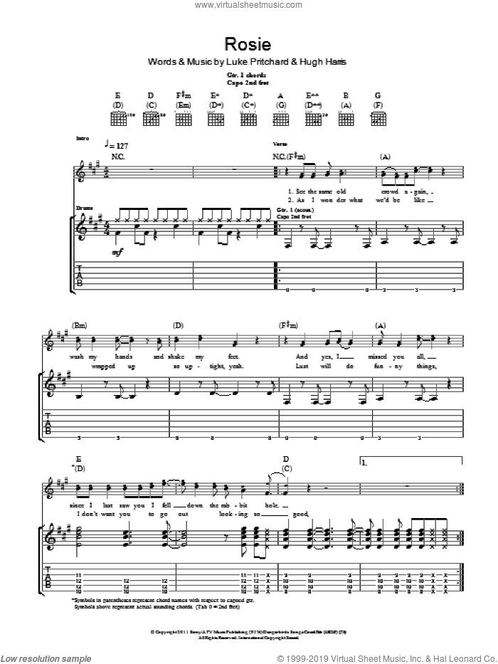 Rosie sheet music for guitar (tablature) by The Kooks, intermediate guitar (tablature). Score Image Preview.