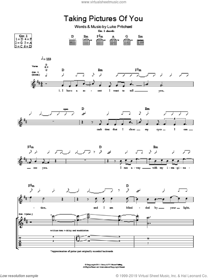Taking Pictures Of You sheet music for guitar (tablature) by The Kooks and Luke Pritchard. Score Image Preview.