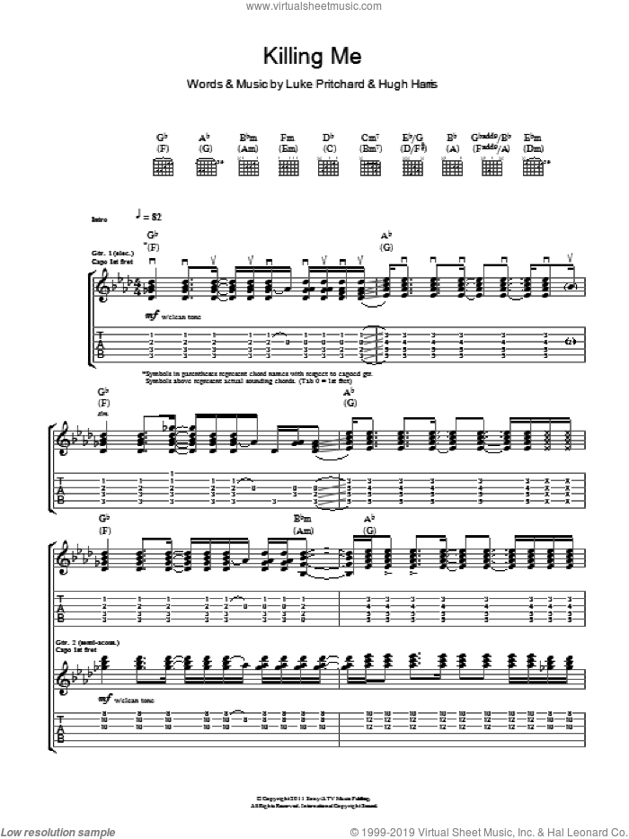 Killing Me sheet music for guitar (tablature) by The Kooks, Hugh Harris and Luke Pritchard. Score Image Preview.