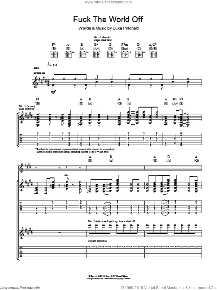 F**k The World Off sheet music for guitar (tablature) by The Kooks and Luke Pritchard, intermediate skill level