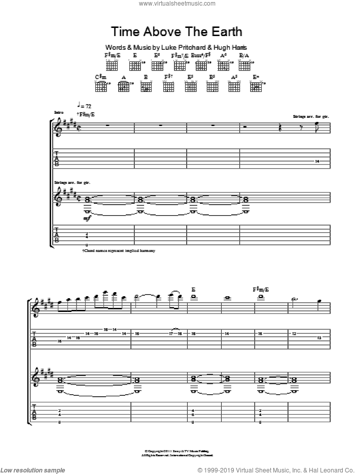Time Above The Earth sheet music for guitar (tablature) by The Kooks. Score Image Preview.