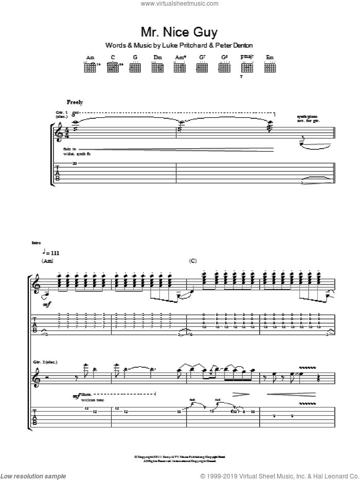 Mr. Nice Guy sheet music for guitar (tablature) by The Kooks, Luke Pritchard and Peter Denton, intermediate skill level