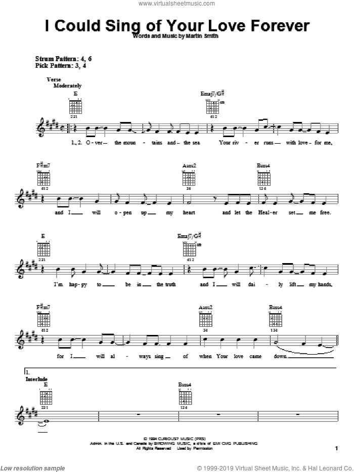 I Could Sing Of Your Love Forever sheet music for guitar solo (chords) by Delirious?, Passion Band and Martin Smith, wedding score, easy guitar (chords)