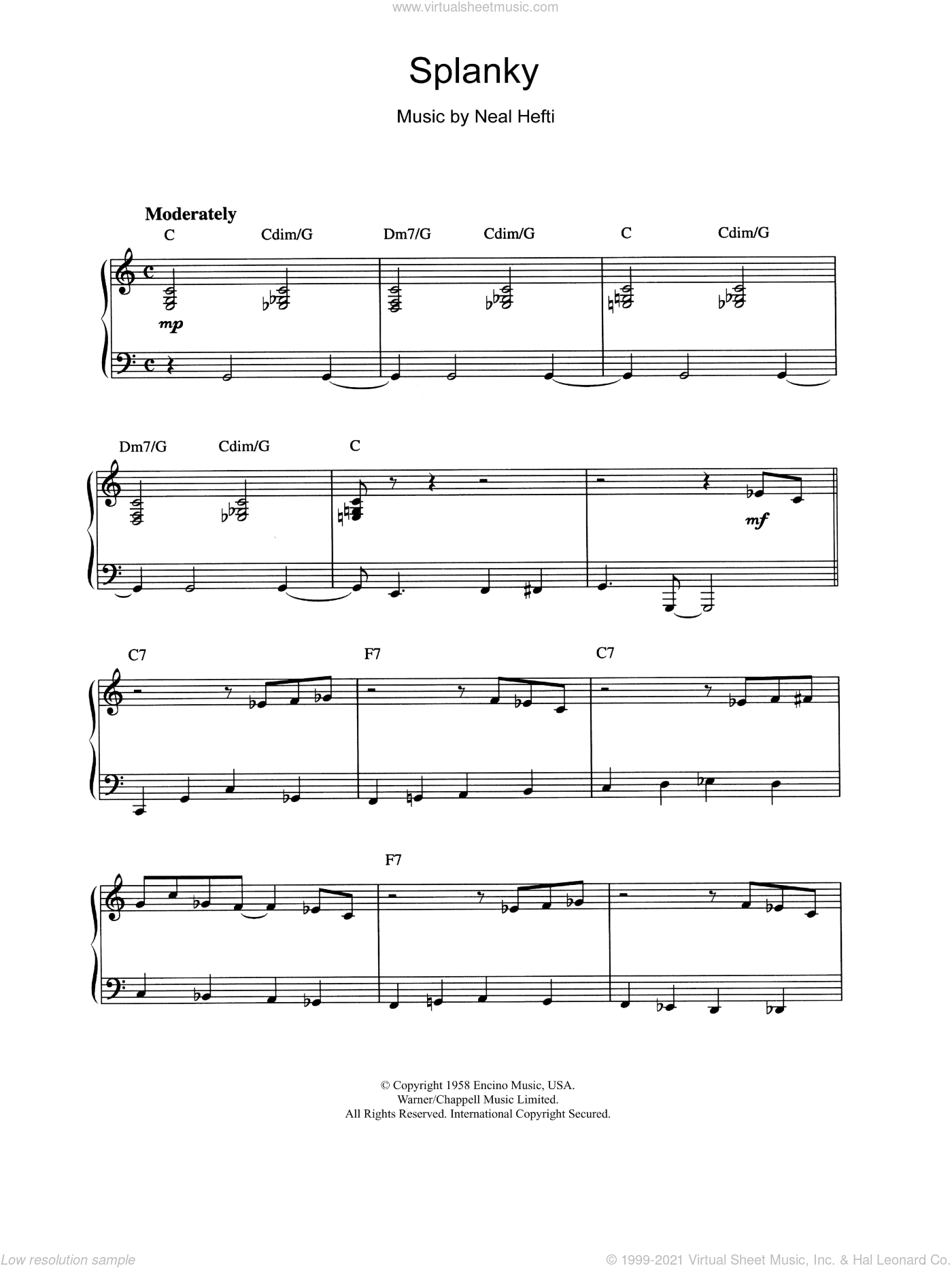 Splanky sheet music for piano solo by Count Basie and Neal Hefti. Score Image Preview.