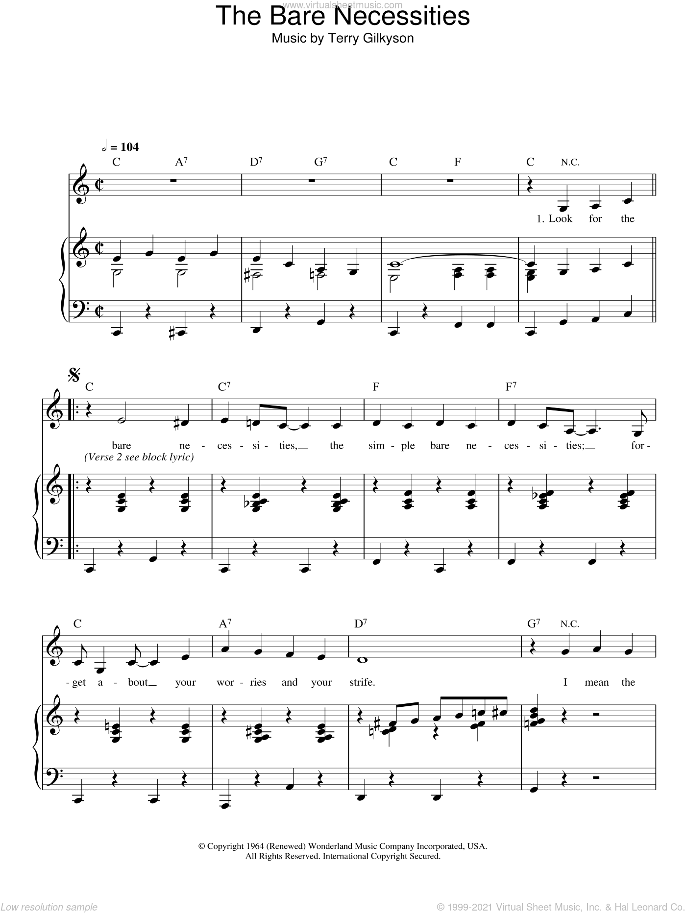The Bare Necessities sheet music for voice and piano by Terry Gilkyson, intermediate skill level