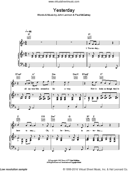 Yesterday sheet music for voice, piano or guitar by The Beatles