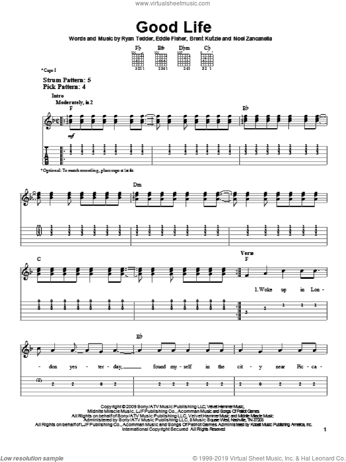 Good Life sheet music for guitar solo (easy tablature) by OneRepublic, Brent Kutzle, Eddie Fisher, Noel Zancanella and Ryan Tedder, easy guitar (easy tablature)