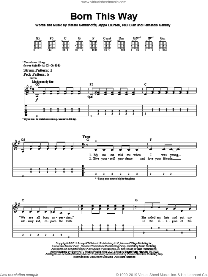Born This Way sheet music for guitar solo (easy tablature) by Lady GaGa, Fernando Garibay, Jeppe Laursen and Paul Blair, easy guitar (easy tablature)
