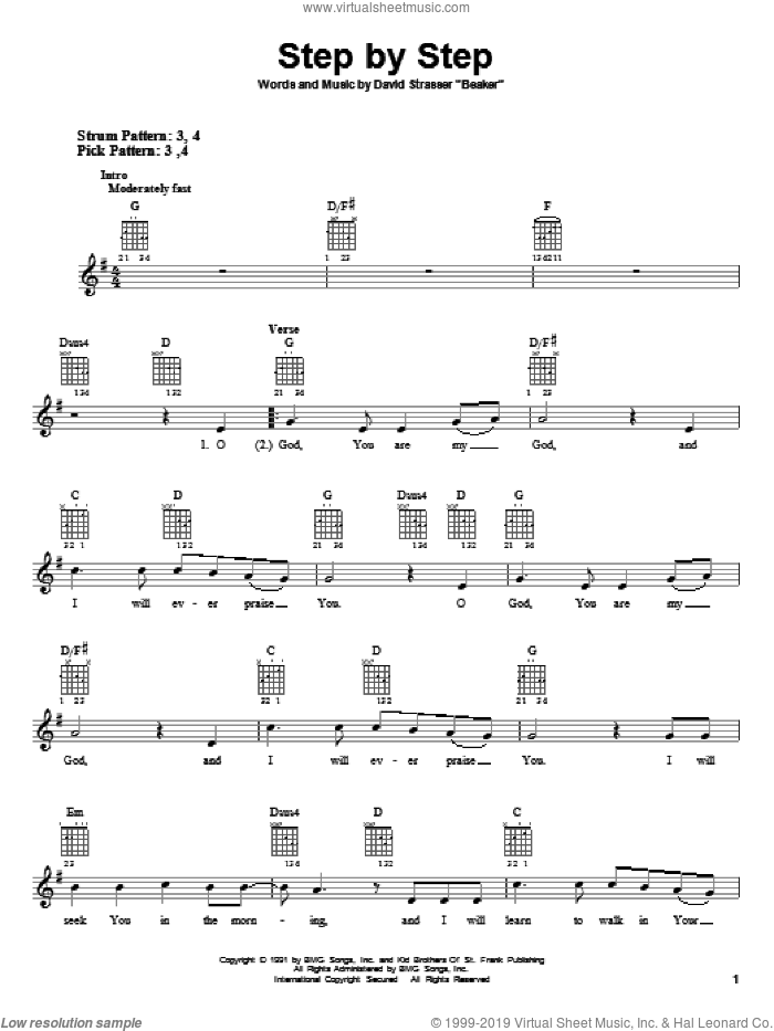 Step By Step sheet music for guitar solo (chords) by Rich Mullins and David Strasser Beaker, easy guitar (chords)