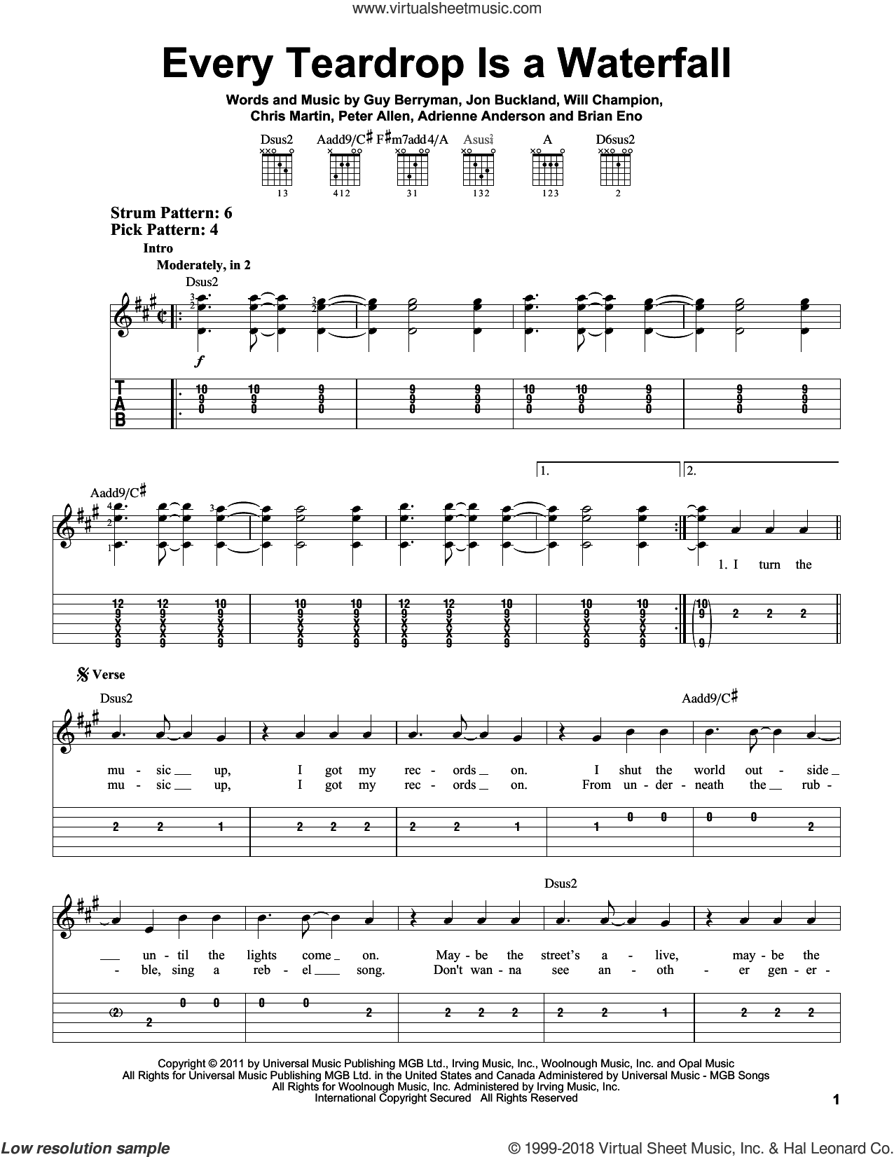 Every Teardrop Is A Waterfall sheet music for guitar solo (easy tablature) by Coldplay, Adrienne Anderson, Brian Eno, Chris Martin, Guy Berryman, Jon Buckland, Peter Allen and Will Champion, easy guitar (easy tablature)