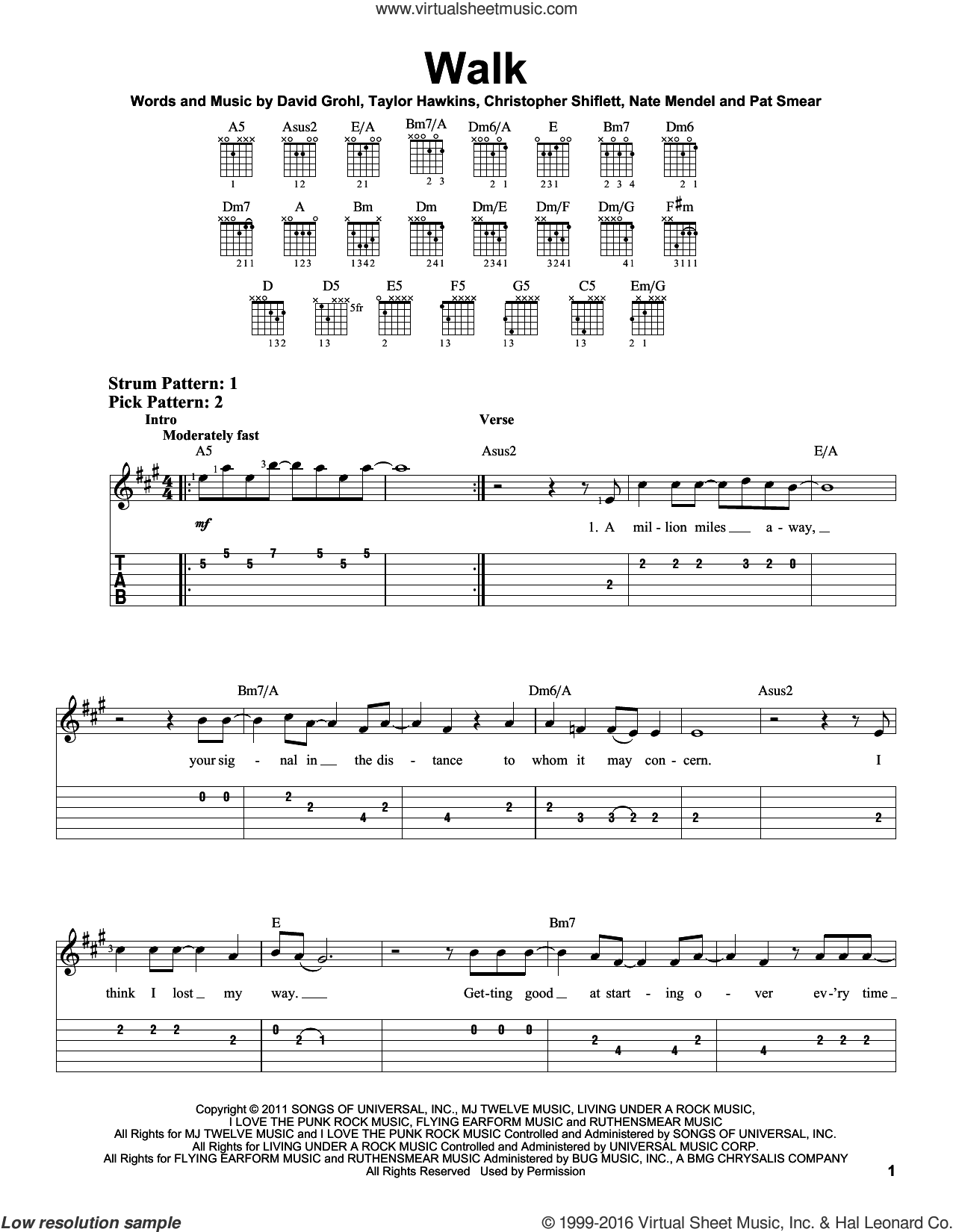 Walk sheet music for guitar solo (easy tablature) by Foo Fighters. Score Image Preview.