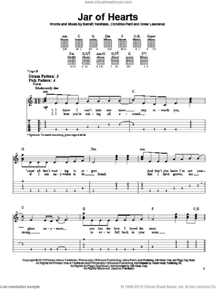 Jar Of Hearts sheet music for guitar solo (easy tablature) by Christina Perri, Barrett Yeretsian and Drew Lawrence, easy guitar (easy tablature)