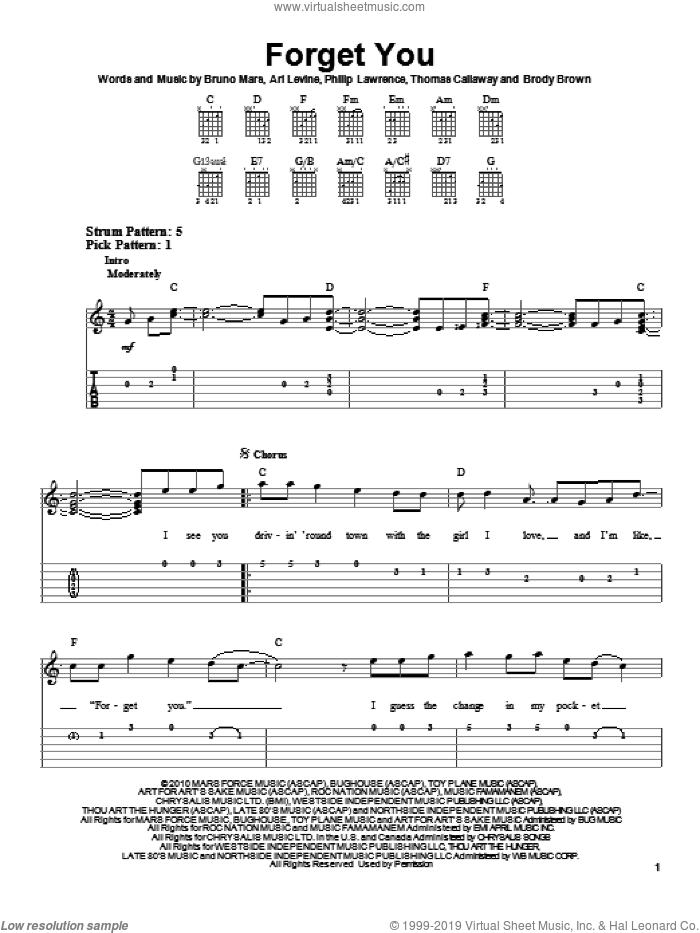 F**k You (Forget You) sheet music for guitar solo (easy tablature) by Cee Lo Green, Ari Levine, Bruno Mars, Philip Lawrence and Thomas Callaway, easy guitar (easy tablature). Score Image Preview.