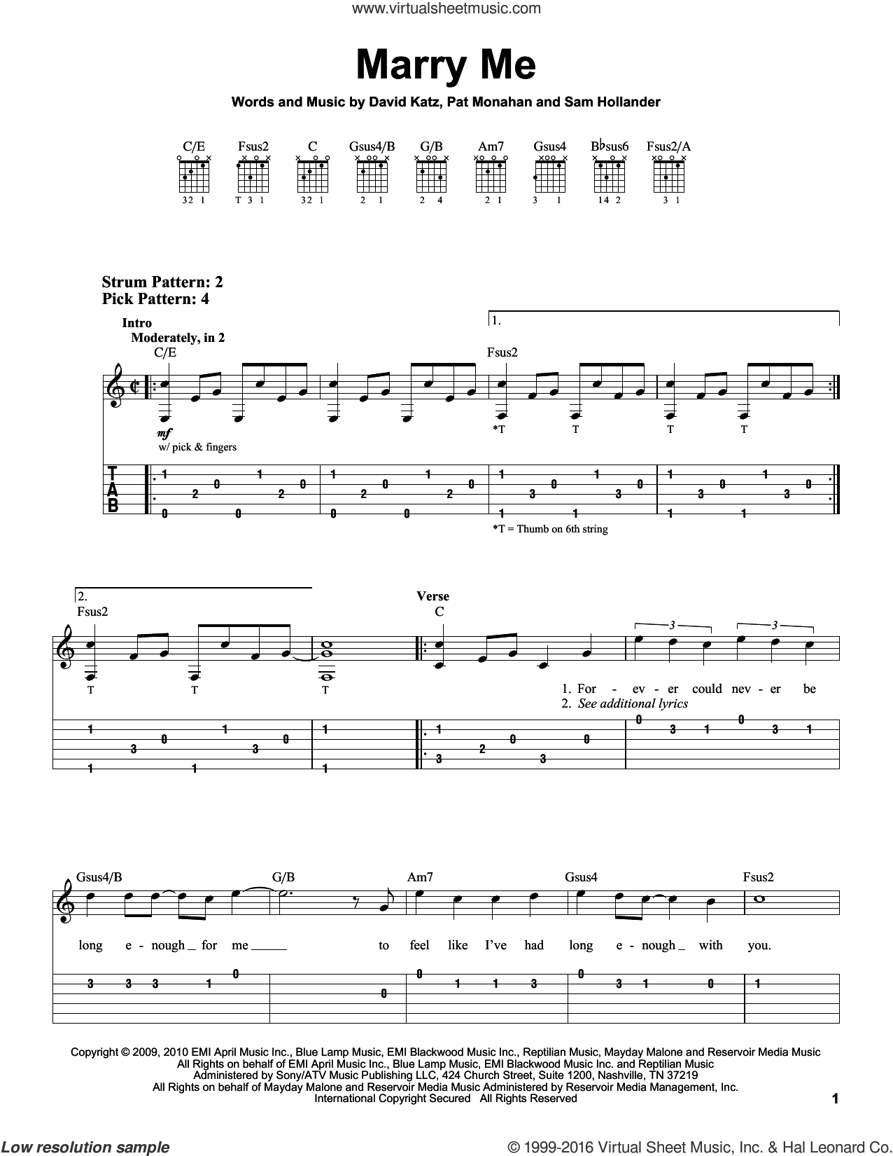 Marry Me sheet music for guitar solo (easy tablature) by Pat Monahan and Train. Score Image Preview.