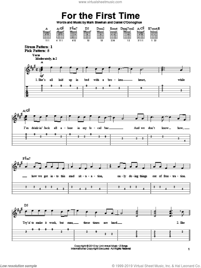 For The First Time sheet music for guitar solo (easy tablature) by Mark Sheehan