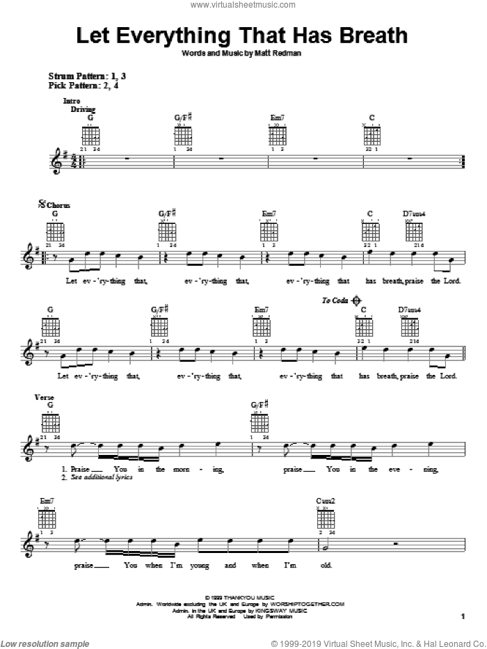 Let Everything That Has Breath sheet music for guitar solo (chords) by Matt Redman, easy guitar (chords). Score Image Preview.