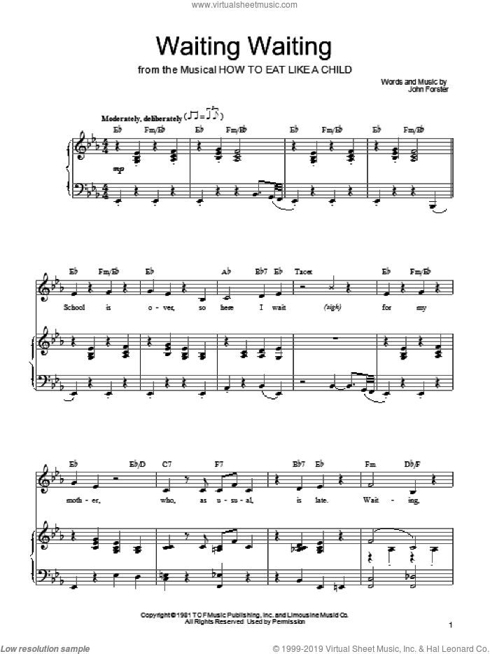 Waiting Waiting sheet music for voice, piano or guitar by Mariann Cook and John Forster, intermediate